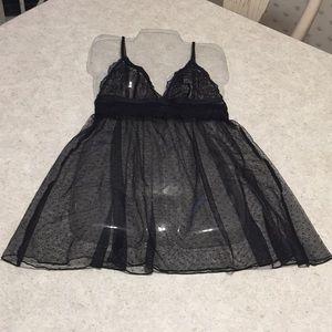 BNWOT VICTORIA'S SECRET BLACK LACE SEXY BABY DOLL
